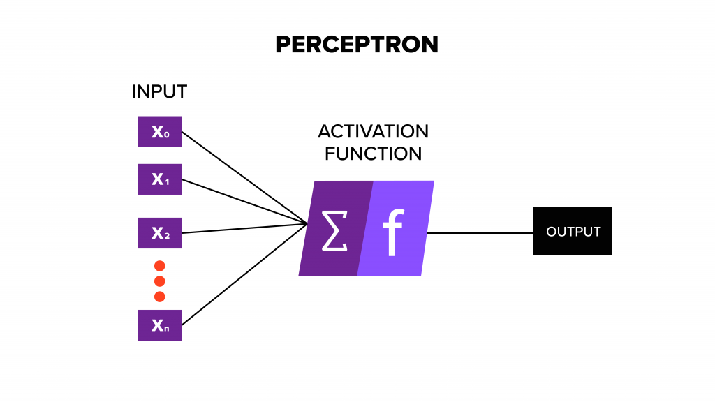 Graphic depicting a perceptron