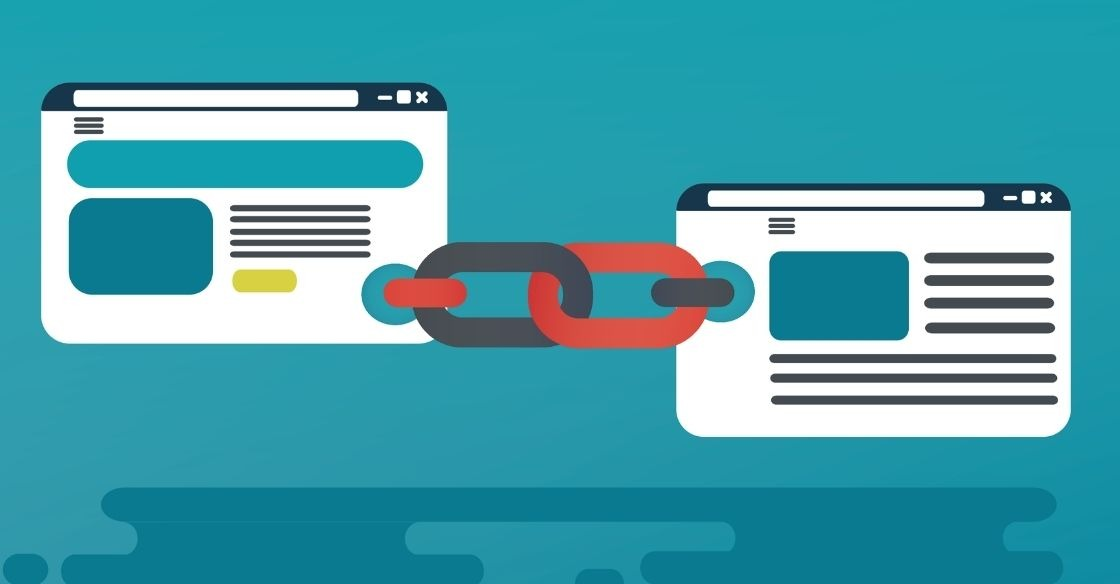 Graphic that depicts internal and external linking for SEO