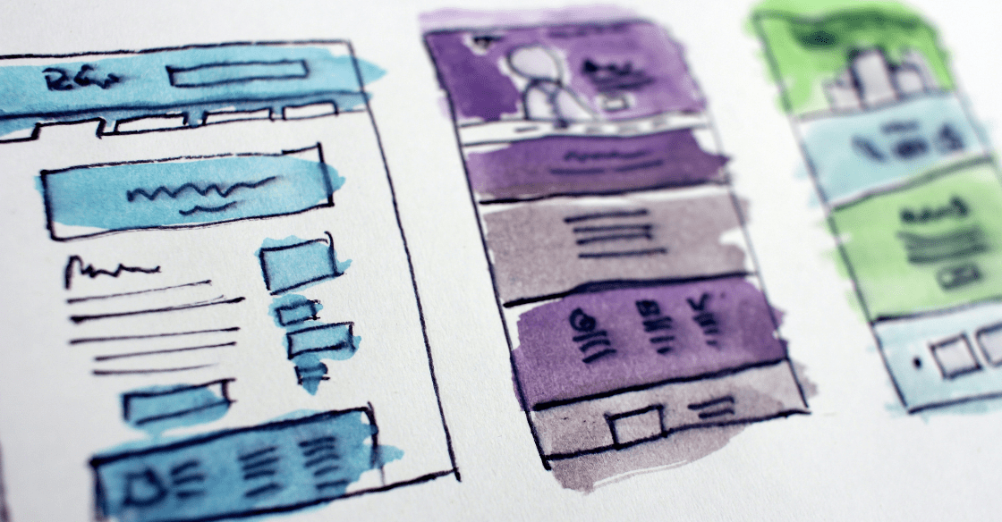 Website layouts painted with watercolor